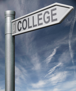 College roadsign clipping path